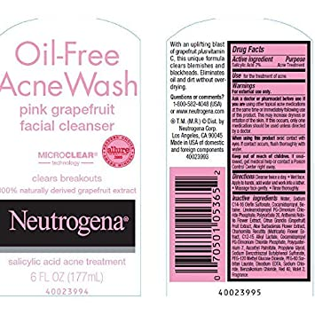 Neutrogena Oil-Free Acne Wash Facial Cleanser, Pink Grapefruit, 6 Ounce Pack of 3