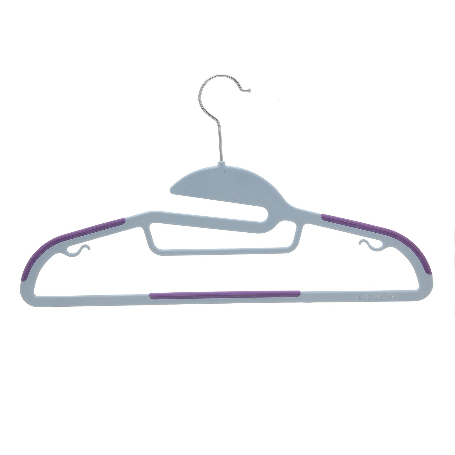 BriaUSA Dry Wet Clothes Hangers Amphibious Purple with Non-Slip Shoulder Design, Steel Swivel Hooks – Box of 20