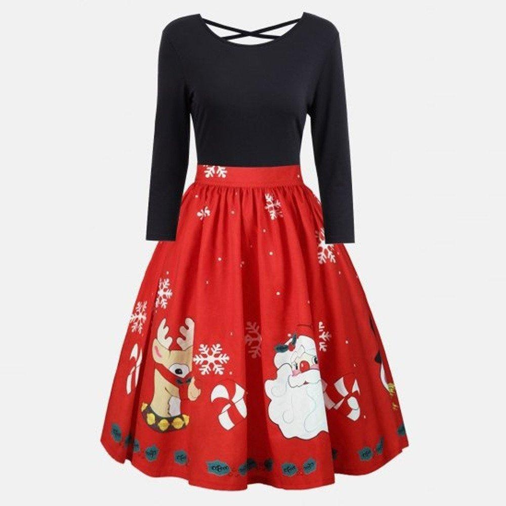 Womens Plus Size Christmas Print Dress AmyDong Long Sleeve Criss Cross Lace  Party Dress