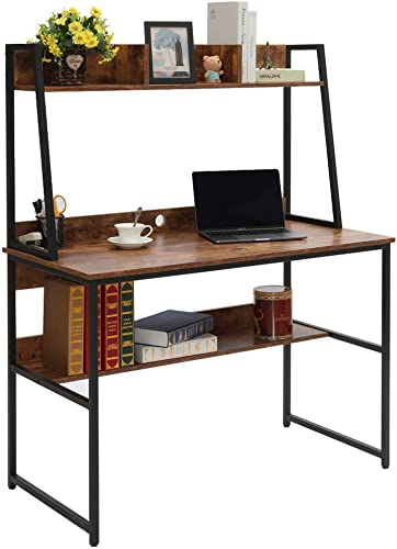 Usikey Computer Desk Table with Hutch, Mental Frame Writing Desk with Bookshelf for Home, Sturdy PC Laptop Study Table, Gaming Center Workstation YDNZ002F