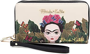 Frida Kahlo Cartoon Around Zip Wallet with Wristlet