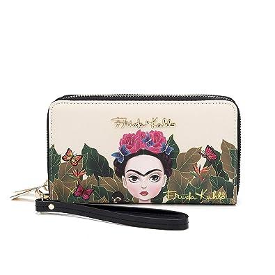 a16c01b3cd99e Frida Kahlo Cartoon Around Zip Wallet with Wristlet (Black)  Handbags   Amazon.com