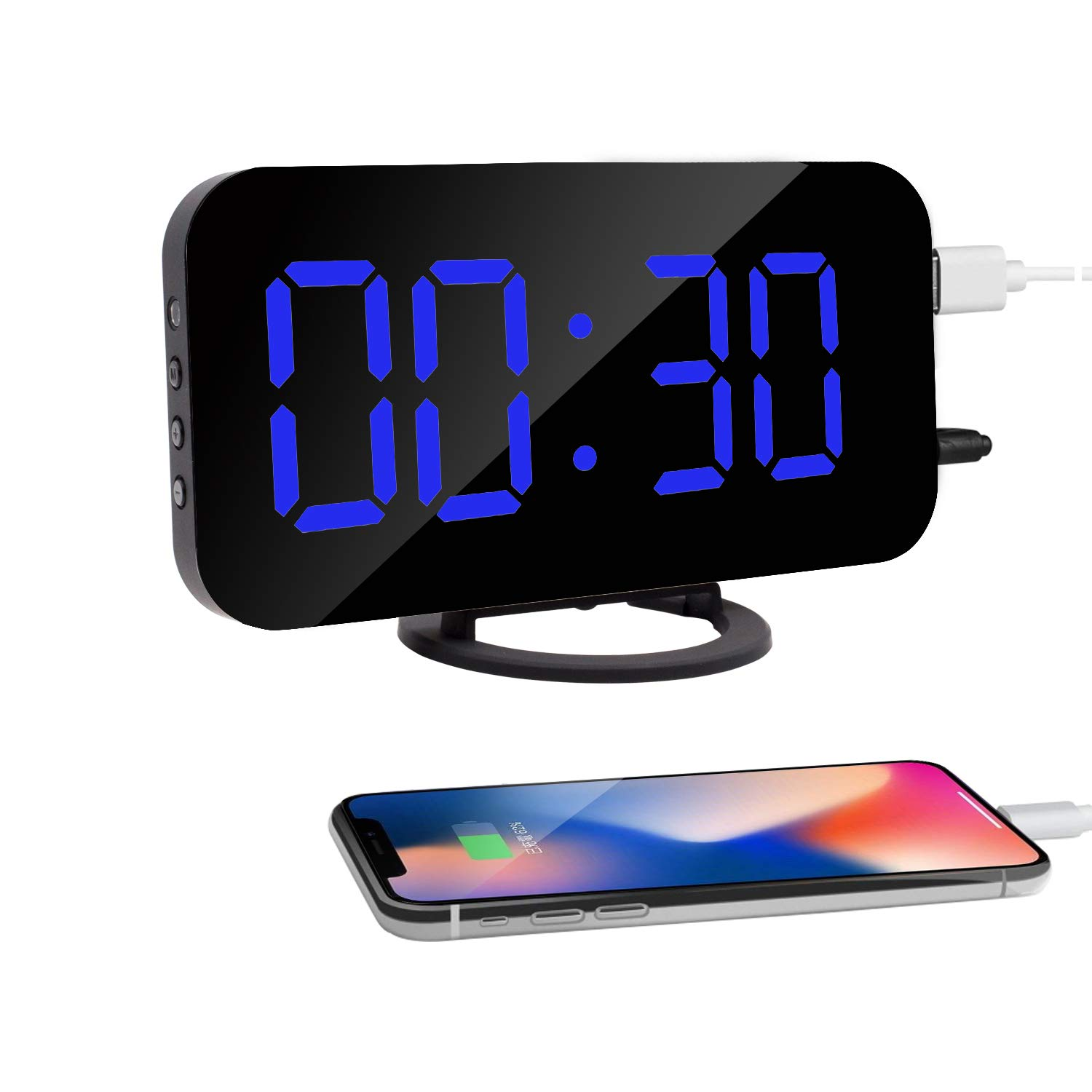 HuiSmart Digital Mirror Alarm Clock with Double USB Charging Ports Extra Large LED Display (Blue)