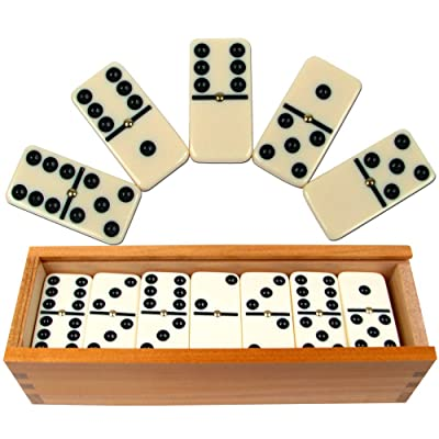 TMG Deluxe 28 Double Six Dominoes Set - Comes with 2 Bonus Dice!: Toys & Games
