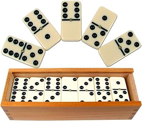 Premium Set of 28 Double Six Dominoes with Plain Wood Case