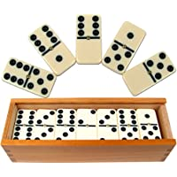 Trademark Games Premium Set of 28 Double Six Dominoes with Wood Case, Brown