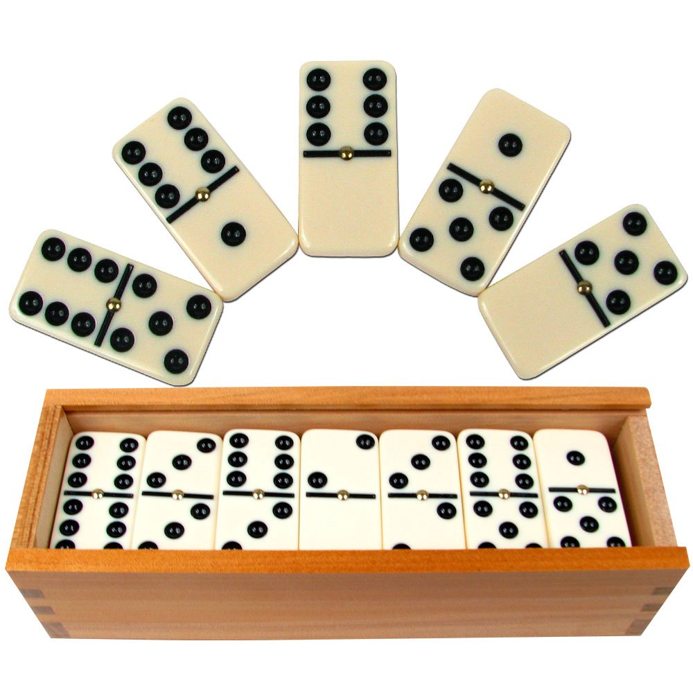 Dominoes Set- 28 Piece Double-Six Ivory Domino Tiles Set, Classic Numbers Table Game with Wooden Carrying/Storage Case by Hey! Play! (2-4 Players) by Hey! Play!