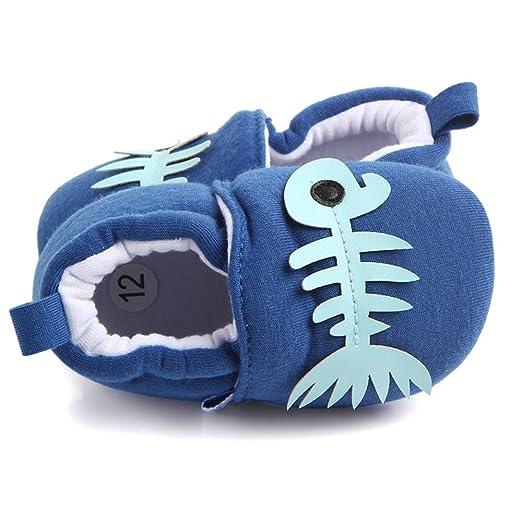 Recién Nacido Zapatos Primeros Pasos, LANSKIRT Zapatillas Bebé Niño Niña Suaves Animal de Dibujos Animados Zapatos de Suela Blanda Calzado Antideslizante ...