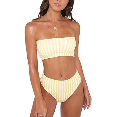 461039657a372 Amazon.com: Goocheer Women's Striped Bandeau Top High Waist Bottom Bikini  Set Swimsuit Bathing Suit Yellow: Clothing