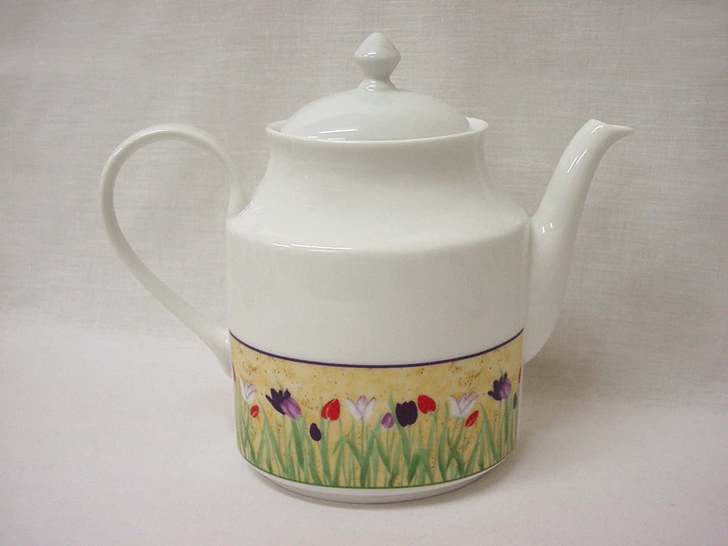 CAFETERA Tetera Ovalada 1550ML Porcelana Tulipanes CESPED Colores ...
