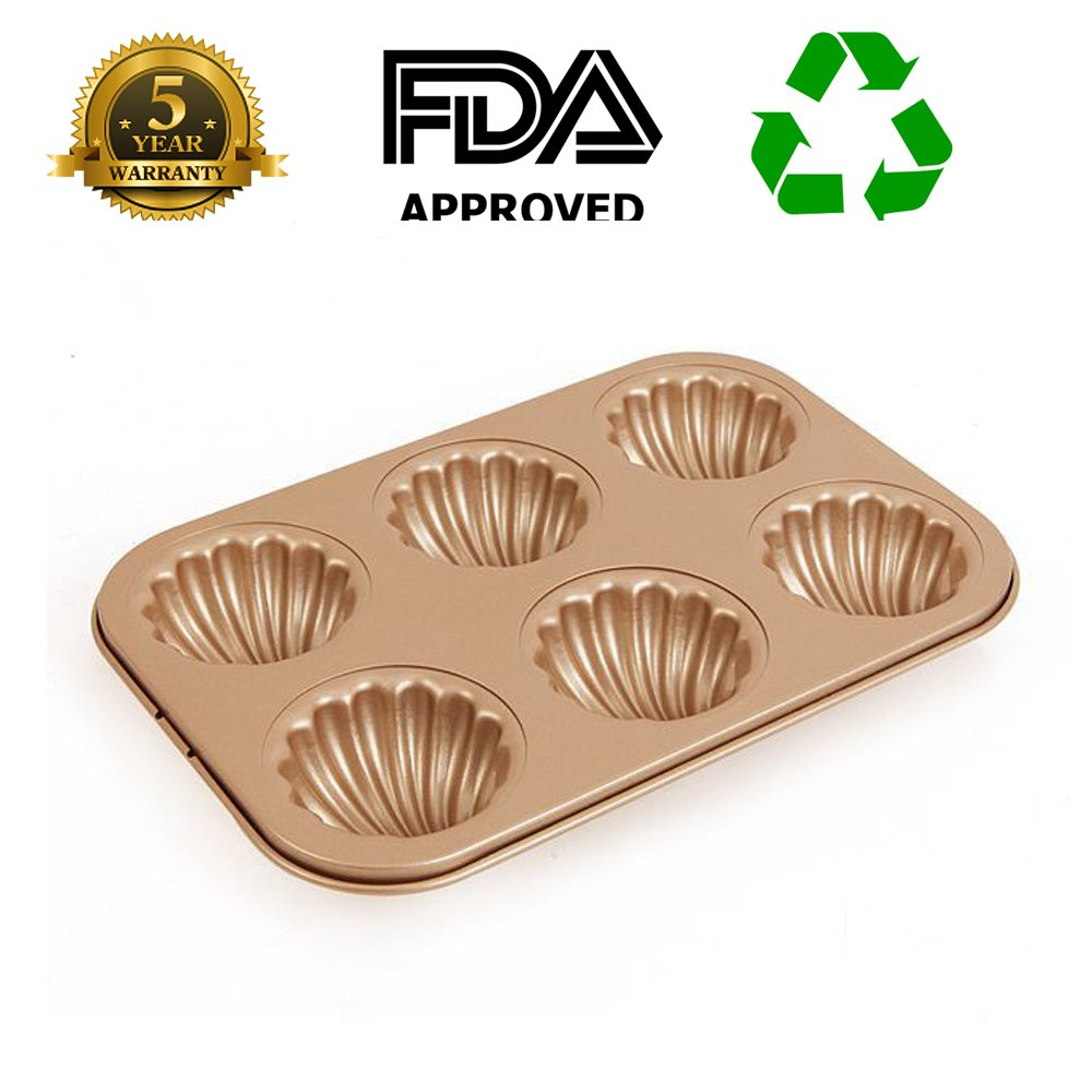 Madeleine Pans 6-Cup Shell Cake Baking Cup Mould Non Stick Gold Carbon Steel 2.5inch cup Bakeware