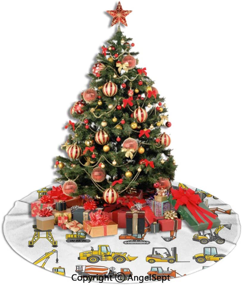 SfeatrutMAT Christmas Tree Skirt,Construction,Cartoon Heavy Equipment and Machinery Industry Building Transportation Decorative,Yellow Orange Grey,30inches,for Halloween or Christmas