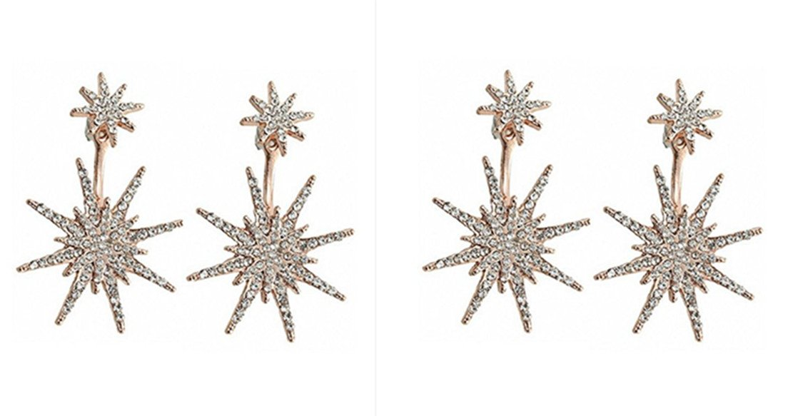 OCCORR Pack of 2 pairs Star Stud Earrings for Women Hexagram Fashion wedding Ear Jacket Jewelry (Rose Gold)