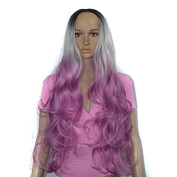 Meen Peluca, señoras de Moda Negro Gris Fucsia Tricolor Largo Pelo Rizado Cosplay Alta Calidad Peluca de la Fiesta Femenina: Amazon.es: Hogar
