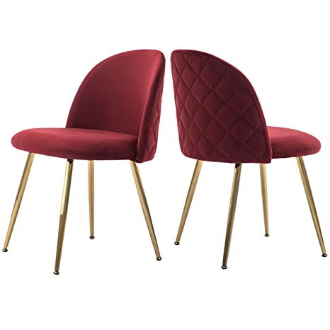 Tufted Velvet Accent Chairs, Upholstered Chairs with Gold Plating Metal  Legs Blue&Brass for Living Room/Dinning Room/Kitchen/Vanity/Patio, Set of 2  ...