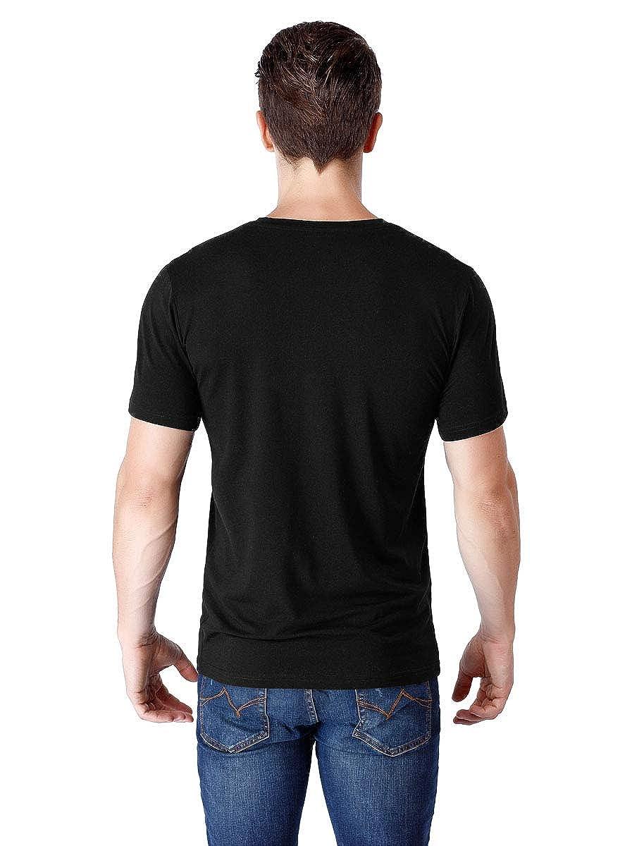 wirarpa Mens Casual Cotton Tagless T-Shirts Crew Short Sleeve Black White