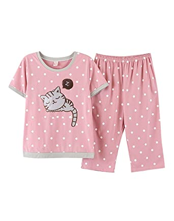 a554ed547aaf Image Unavailable. Image not available for. Color  LLP Big Girls Pajama  Cute Cat Pattern Nighty Comfy Shorts Cotton Sleepwear