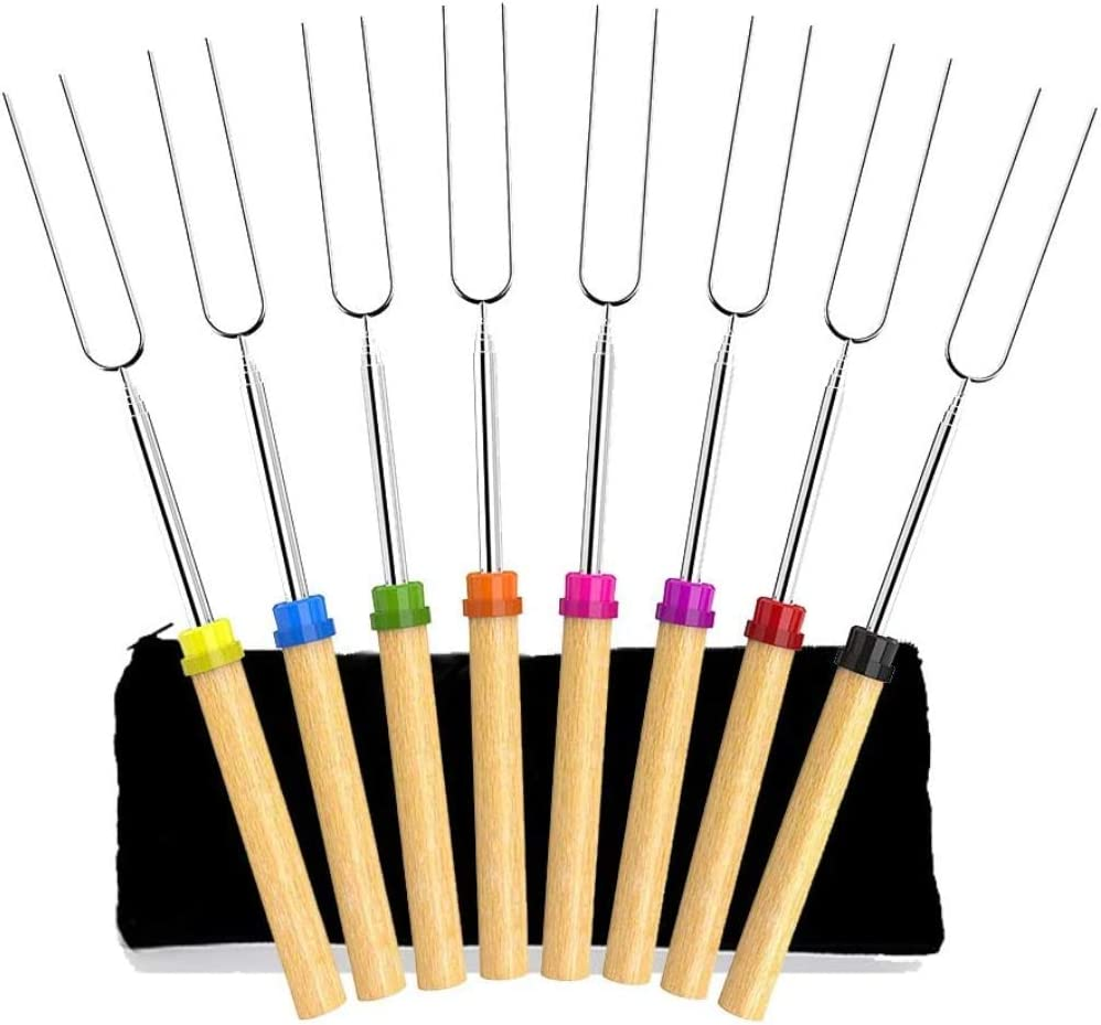 Newthinking Extendable Marshmallow Roasting Sticks, 32-inch Stainless Steel Barbecue Forks Sticks with Wooden Handle Roasting Sticks for Campfire, Fire Pits, Camping, Set of 8 : Garden & Outdoor