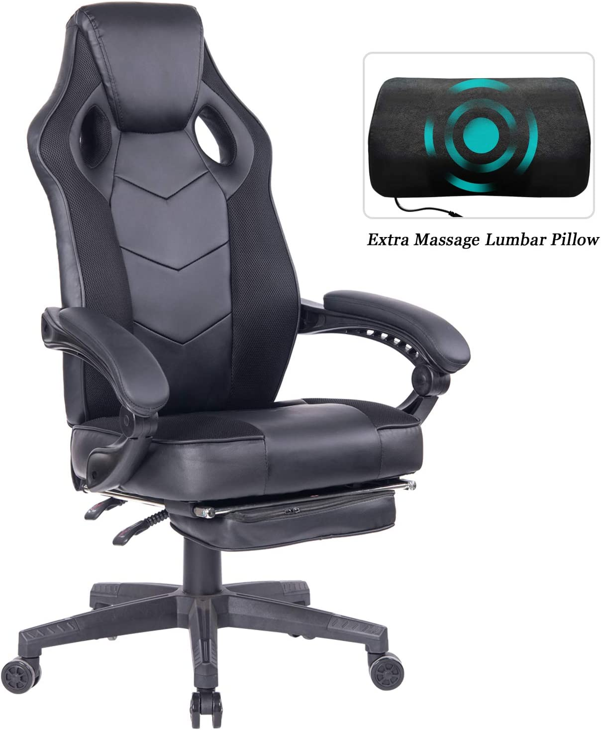 HEALGEN Gaming Chair with Footrest Racing Computer PC Chair Ergonomic High Back Swivel Executive Office Chair Mesh Leather Reclining Desk Chair (RC906Black)