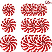 12pcs Peppermint Floor Decals Stickers - 3 Sizes Self-Adhesive Design Christmas Candy Stickers for Christmas Decoration Candy Party Supply (Red)