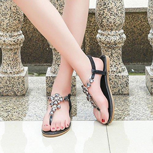 Pantoletten Schuhe Flache Mode Zehentrenner Riemchensandalen MOIKA B Schuhe Strandschuhe Damen Schwarz Sandalen hmen Sandalen Elegant Sommer fn1OSq