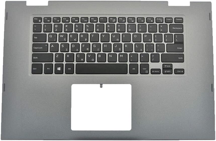 GAOCHENG Laptop Palmrest for DELL Inspiron 15 5568 5578 P58F Gray 00HTJC 0HTJC 09T0TK 9T0TK with Greek GK Backlit Keyboard Upper case New