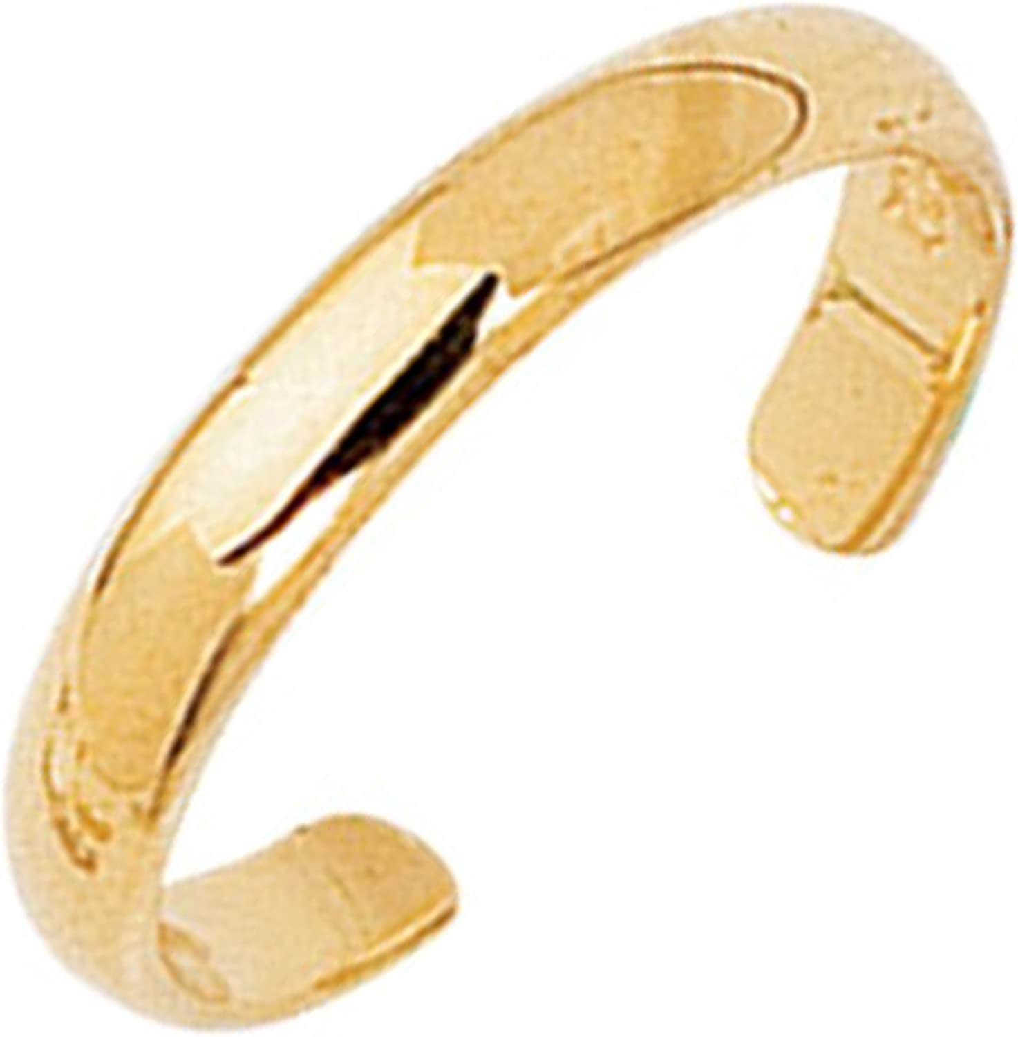 Ritastephens 14k Solid Gold Shiny High Polished Plain Band Toe Ring Adjustable Yellow or White