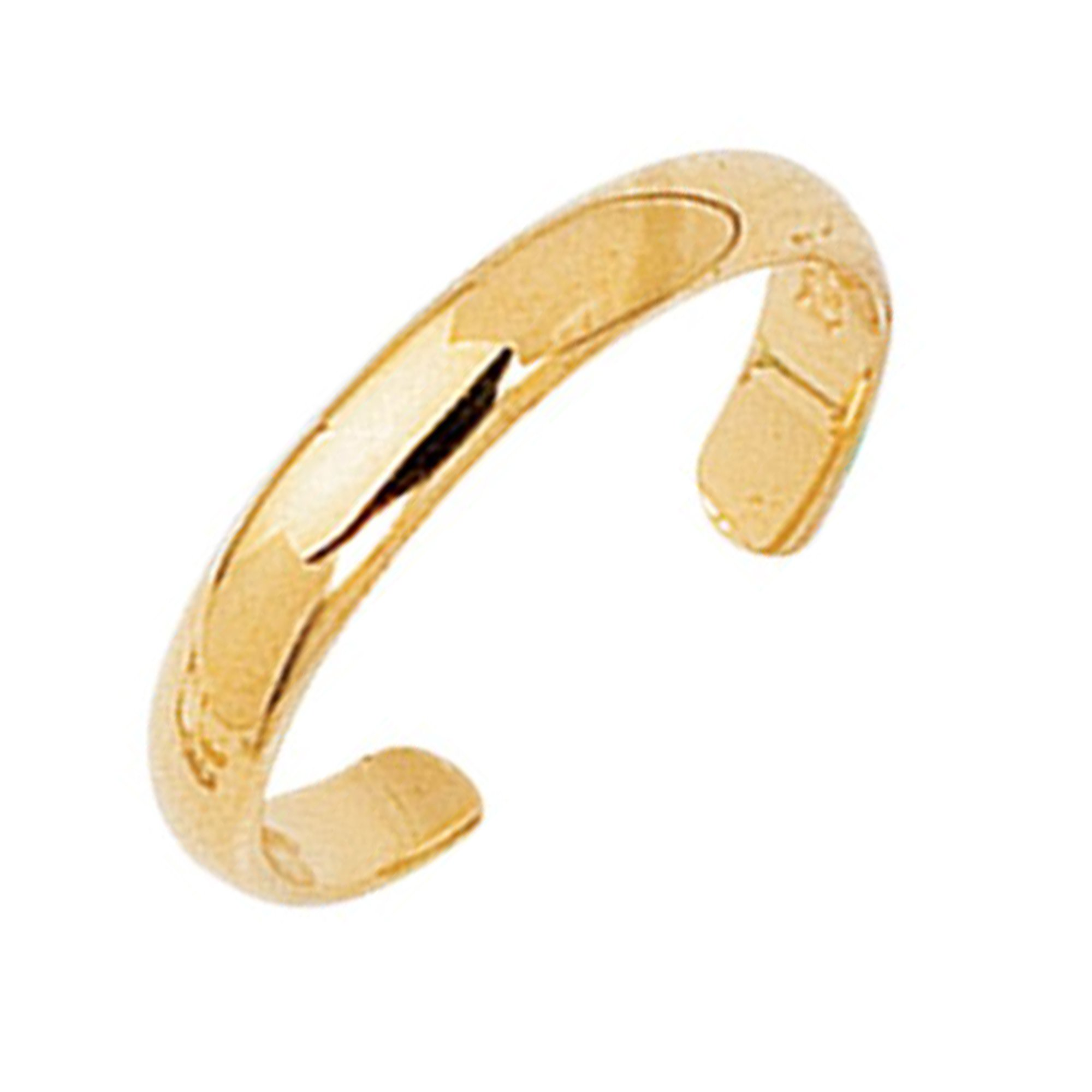 Ritastephens 14k Yellow Gold Shiny High Polished Plain Band Toe Ring Adjustable by Ritastephens