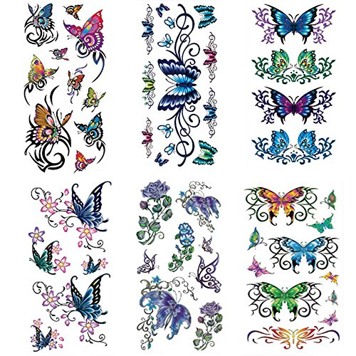 Yesallwas Temporary flower and butterfly tattoos 6 Pcs,LargeTattoo Sticker Fake Tattoos for women,waterproof and Long Lasting sexy body tattoos Lower Back, Shoulder, Neck, Arm tattoo- Rose, butterfly Butterfly Lower Back Temporary Tattoo