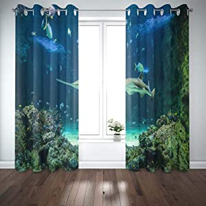 Shorping Window Curtains, Window Panels Sliding Blackout Curtains Large Also Known as Shark and Other Fishes Swimming in Aquarium Carpenter a Country Shower Curtain for Bedroom 52X63 Inches,2 Pc