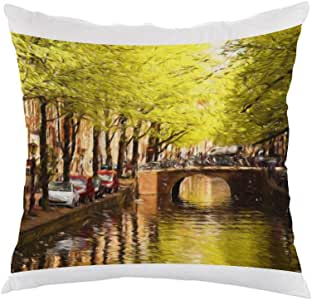 Painting Artistic Printed Pillow, white velvet Fabric 40X40 cm