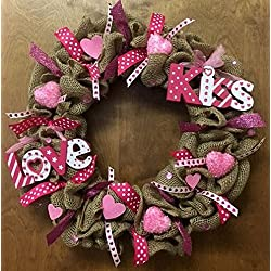 Valentines Day Burlap Holiday Wreath. Super Cute & Whimsical