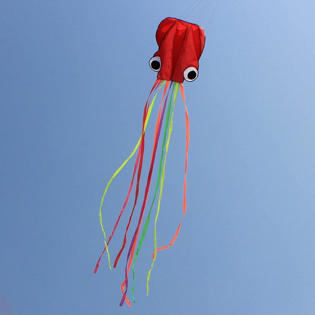 MagiDeal Cervo Volante Testa di Coda Colorato Aquilone di Acrobazio Aviatori Singola Linea Polpo Giocattolo Giochi Allaperto Sportivi Pieghevole Poliestere per Bambini Adulti Blu