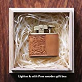 Personalized gift Vintage Lighter Genuine Leather cover FREE Engraving SN-001A