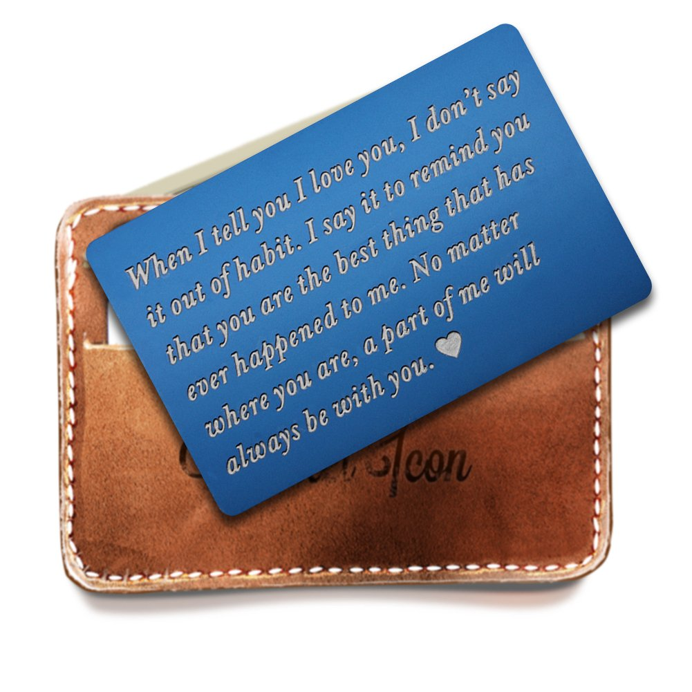 Engraved Wallet Inserts, Metal Wallet Card, Mini Love Note Message, Deployment Gift for Him, Perfect Anniversary Gifts for Men, Boyfriend, Husband Gifts from Wife