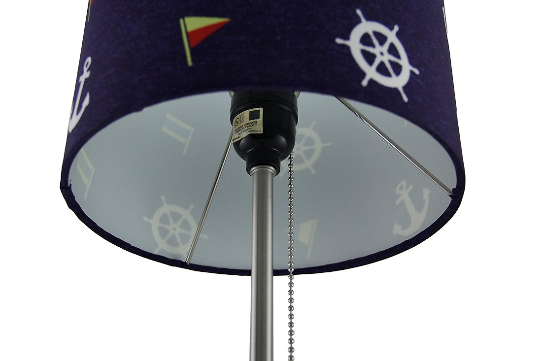 Nautical Stainless Steel Accent Lamp w//Navy Drum Shade J.D Yeatts Imports