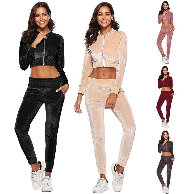 Amazon Com Women Suits Tracksuits Solid 2 Piece Velour Sweatsuit
