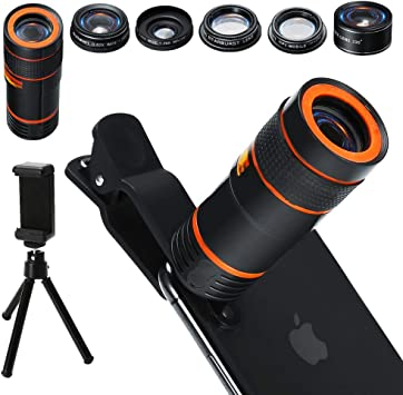 Fancysweety Mobile Phone Camera Lens Kit Fish Eye Lens 2 in1 Macro Lens/& Super Wide Angle Lens with Black Universal Phone Clip