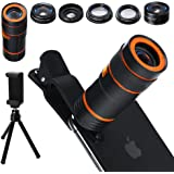 6-in-1 Cell Phone Camera Lens Kit, 12x Telephoto Zoom Lens, 0.62x Wide Angle & 20x Macro, 235° Fisheye, Starburst, and Professional CPL Lens+ Phone Holder & Tripod for iPhone X/8/7/6/6s, Android,
