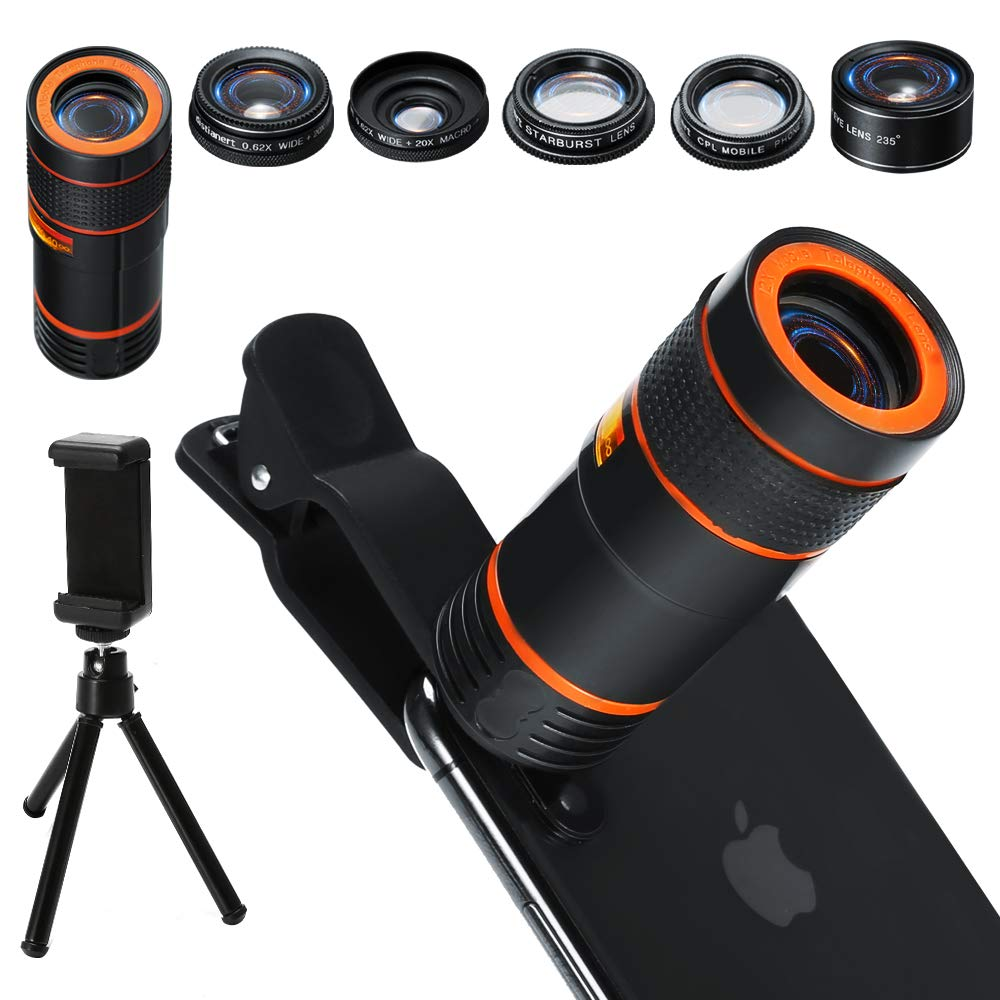 6-in-1 Cell Phone Camera Lens Kit, 12x Telephoto Zoom Lens, 0.62x Wide Angle & 20x Macro, 235° Fisheye, Starburst, and Professional CPL Lens+ Phone Holder & Tripod for iPhone X/8/7/6/6s Plus, Android,