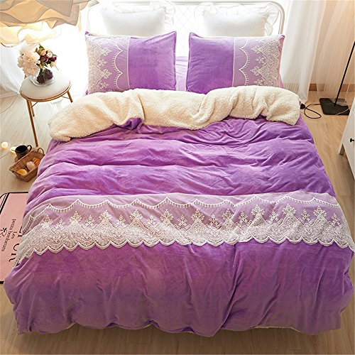 210G Thicken Crystal Velvet Duvet Cover Set Without Comforter 4pcs French Styleextra queen^^^Purple^^^purple by YOUXIMAKE