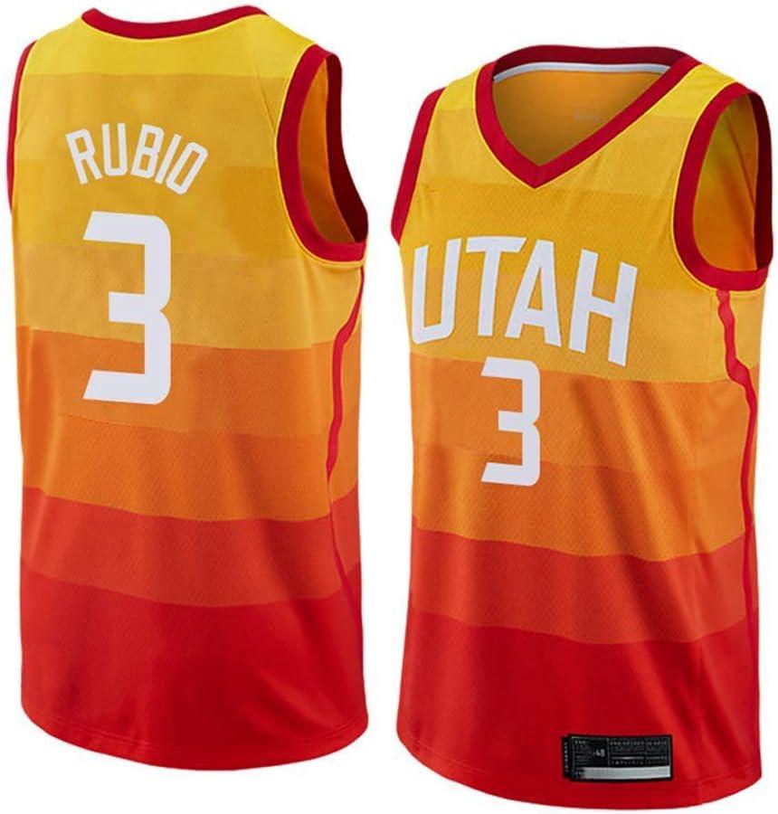 Ropa de Baloncesto de la NBA de los Hombres, Utah Jazz # 3 Ricky Rubio Jersey clásico, Fresco de época Uniforme Transpirable Tejido de Estrellas Unisex Ventilador: Amazon.es: Deportes y aire libre