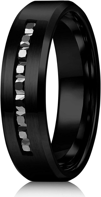 sailimue 8MM Bagues en Titane pour Hommes Bagues de Mariage Noir Promesse de Mariage Taille 54-69
