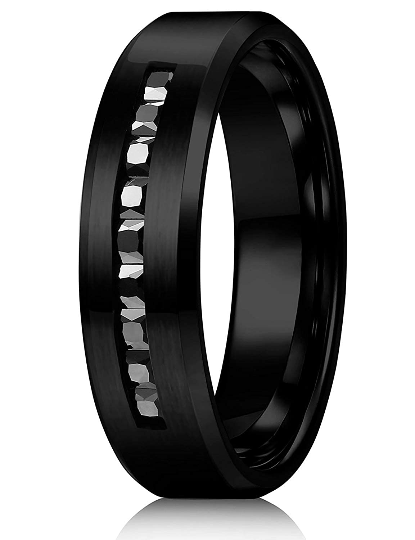 sailimue Gioielli 8mm Titanio Anello per Uomo Cinturino di Fidanzamento Matrimonio Promessa Vintage Anelli Taglia 14-29 CDE-1D12