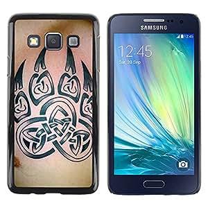 rígido protector delgado Shell Prima Delgada Casa Carcasa Funda Case Bandera Cover Armor para Samsung Galaxy A3 SM-A300 /Bear Claw Celtic Pattern Skin Ink/ STRONG