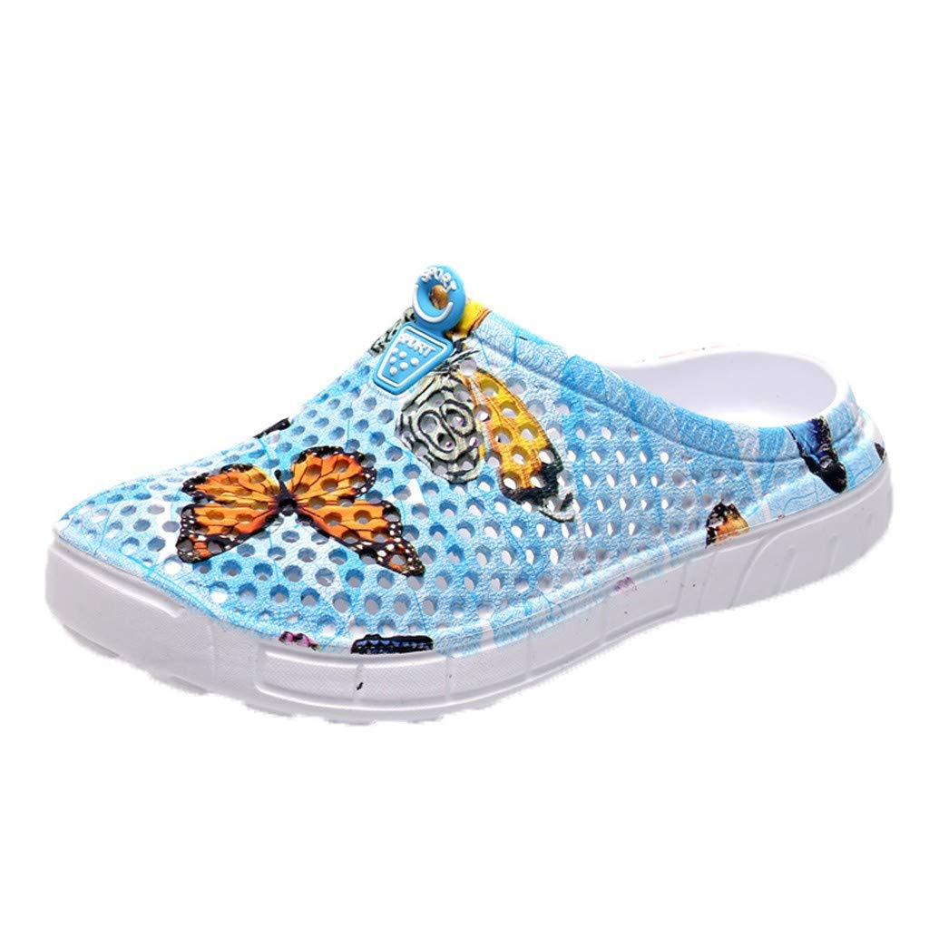 Allywit Women Ladies Cute Butterfly Beach Sandals Hollow Casual Breathable Slippers Flats Shoes Blue