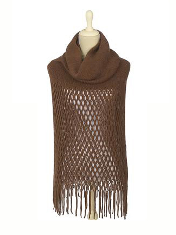 Brown Hooded Fringe Shawl by Ganz