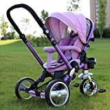QXMEI Children's Tricycle Can Be Folded and Can Be Rotated to Lie Down to Sit Baby Stroller Tricycle with Awning (Purple)