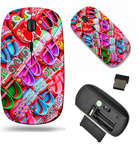 MSD Wireless Mouse Travel 2.4G Wireless Mice with USB Receiver, Noiseless and Silent Click with 1000 DPI for notebook, pc, laptop, computer, mac book design 34813799 Hand made baby shoes on red (959 Shoes)
