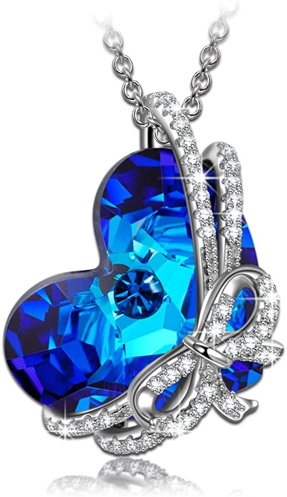 Kami Idea Collar, Regalo de Amor, Plata de Ley 925, Arco Chispeante, Cristal del Corazón de Swarovski, Embalaje de Regalo, Regalos para Mamá
